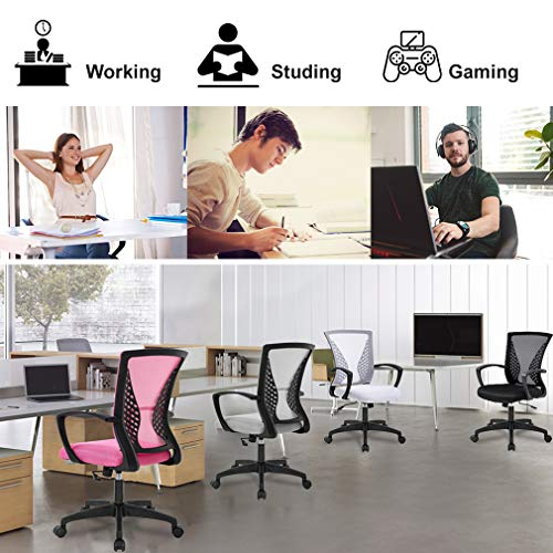 Office Chair Ergonomic Desk Chair Mesh Computer Chair With Lumbar Support Armrest Mid Back Rolling Swivel Adjustable Task Chair For Women Adults Black 0 3