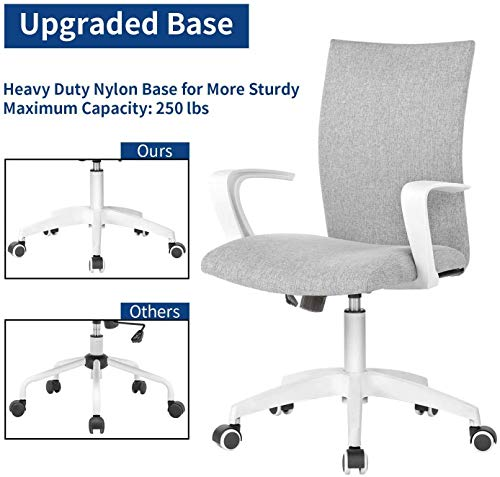 Office Chair Ergonomic Mid Back Swivel Chair Height Adjustable Lumbar Support Computer Desk Chair With Armrest Grey And White 0 1