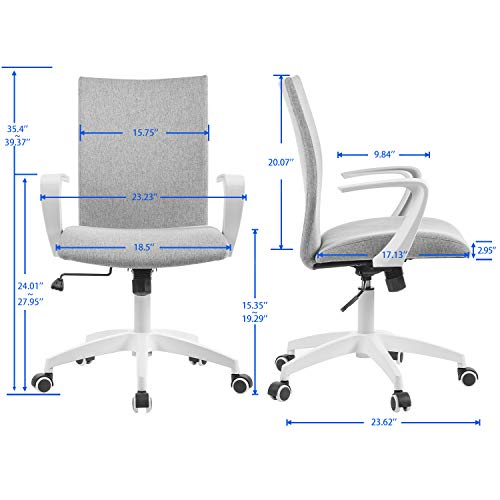 Office Chair Ergonomic Mid Back Swivel Chair Height Adjustable Lumbar Support Computer Desk Chair With Armrest Grey And White 0 3