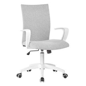 Office Chair Ergonomic Mid Back Swivel Chair Height Adjustable Lumbar Support Computer Desk Chair With Armrest Grey And White 0