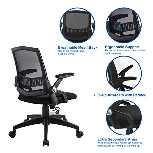 Office Chairs Mid Back Computer Desk Chairs With Ergonomic Back Swivel Task Chairs With Thick Cushion Upgraded Huge Cushion Foam Load Up To 300Lbs 0 3