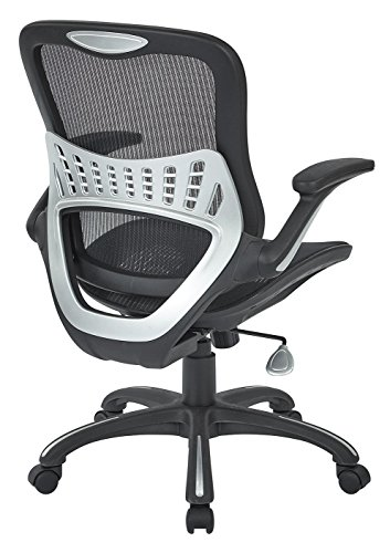 Office Star Mesh Back Seat 2 To 1 Synchro Lumbar Support Managers Chair Black 0 1