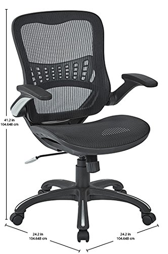 Office Star Mesh Back Seat 2 To 1 Synchro Lumbar Support Managers Chair Black 0 3