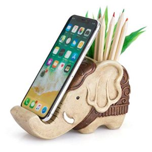 Pen Pencil Holder With Phone Stand Coolbros Resin Shaped Pen Container Cell Phone Stand Carving Brush Scissor Holder Desk Organizer Decoration For Office Desk Home Decorative Elephant 0