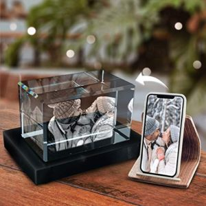Pix Crystal 3D Crystal Photo Personalized Home Office Decor Glass 3D Hologram Paperweight Easter Gifts Gifts For Mom Birthday Gifts For Women Men Landscape Small 0