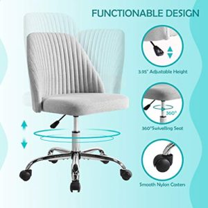 Rimiking Home Office Modern Twill Fabric Adjustable Mid Back Task Ergonomic Executive Chair Gray 0 0