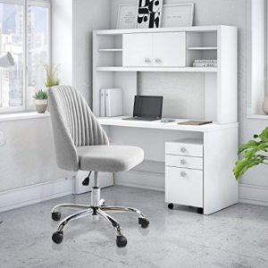 Rimiking Home Office Modern Twill Fabric Adjustable Mid Back Task Ergonomic Executive Chair Gray 0 3