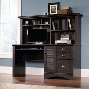 Sauder Harbor View Computer Desk With Hutch Antiqued Paint Finish 0 0