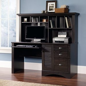 Sauder Harbor View Computer Desk With Hutch Antiqued Paint Finish 0 1