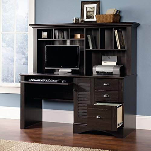 Sauder Harbor View Computer Desk With Hutch Antiqued Paint Finish 0 2