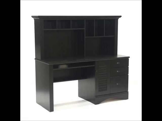 Sauder Harbor View Computer Desk With Hutch Antiqued Paint Finish 0 5