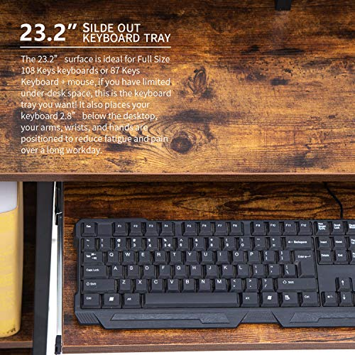 Topsky Computer Desk With Storage Shelveskeyboard Traymonitor Stand Study Table For Home Office Black 0 1