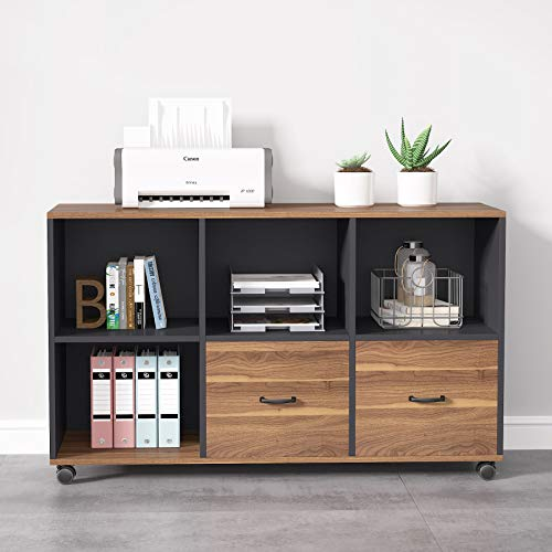 Tribesigns-2-Drawers-Lateral-File-Cabinets-Letter-Size-43-Inches-Mobile-Filing-Cabinet-Printer-Stand-Office-Cabinet-With-Wheels-And-Open-Storage-Shelves-For-Home-Officewood-Rustic-Black-Finish-0-1