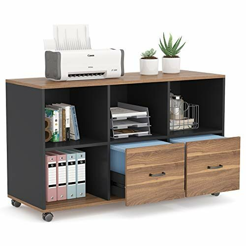 Tribesigns 2 Drawers Lateral File Cabinets Letter Size 43 Inches Mobile Filing Cabinet Printer Stand Office Cabinet With Wheels And Open Storage Shelves For Home Officewood Rustic Black Finish 0