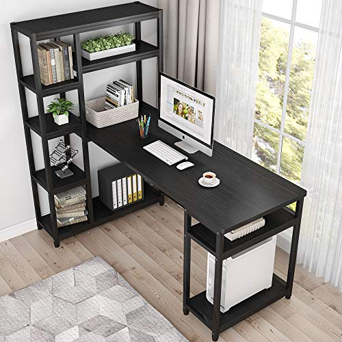 Tribesigns 67 Reversible Large Computer Desk With 9 Storage Shelves Office Desk Study Table Writing Desk Workstation With Hutch Bookshelf For Home Office Black 0 0