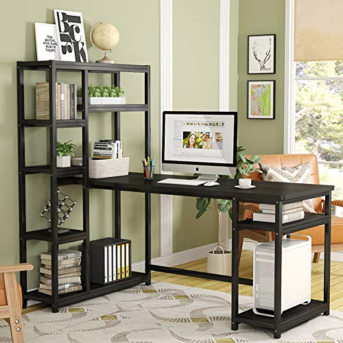 Tribesigns 67 Reversible Large Computer Desk With 9 Storage Shelves Office Desk Study Table Writing Desk Workstation With Hutch Bookshelf For Home Office Black 0 1