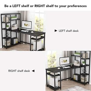 Tribesigns 67 Reversible Large Computer Desk With 9 Storage Shelves Office Desk Study Table Writing Desk Workstation With Hutch Bookshelf For Home Office Black 0 2