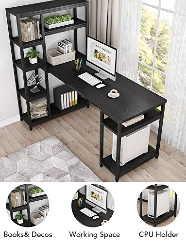 Tribesigns 67 Reversible Large Computer Desk With 9 Storage Shelves Office Desk Study Table Writing Desk Workstation With Hutch Bookshelf For Home Office Black 0 3