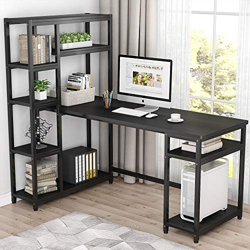 Tribesigns 67 Reversible Large Computer Desk With 9 Storage Shelves Office Desk Study Table Writing Desk Workstation With Hutch Bookshelf For Home Office Black 0