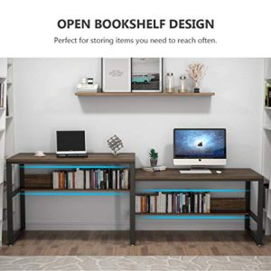Tribesigns 9448 Inches Two Person Desk Double Computer Desk Sit And Standing Desk For Two Person Simple Writing Office Desk In Rustic Finish For Home Office Rustic 0 3
