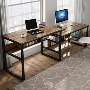 Tribesigns 9448 Inches Two Person Desk Double Computer Desk Sit And Standing Desk For Two Person Simple Writing Office Desk In Rustic Finish For Home Office Rustic 0