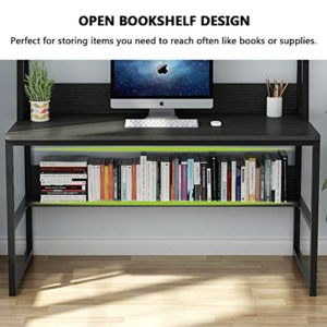 Tribesigns Computer Desk With Hutch And Bookshelf 47 Inches Home Office Desk With Space Saving Design For Small Spaces Black 0 3