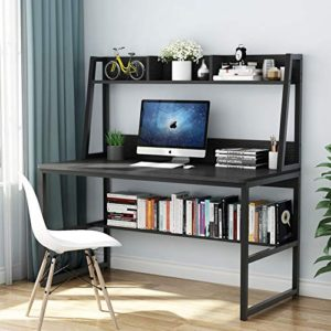Tribesigns Computer Desk With Hutch And Bookshelf 47 Inches Home Office Desk With Space Saving Design For Small Spaces Black 0