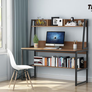 Tribesigns Computer Desk With Hutch And Bookshelf 47 Inches Home Office Desk With Space Saving Design For Small Spaces Black 0 4