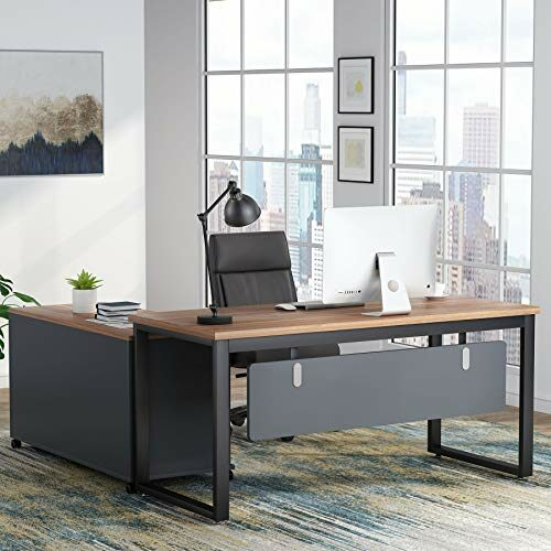 Tribesigns L Shaped Computer Desk With 47 Inch File Cabinet Set Large Computer Office Desk Table With Storage Shelves Industrial Business Furniture With Printer Filing Stand For Home Office 0