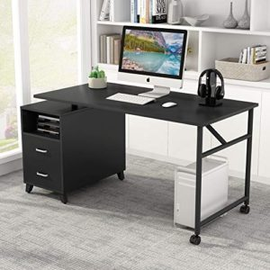 Tribesigns Reversible Computer Desk With Drawers 360 Free Rotating Home Office Desk 47 Inch Modern Study Writing Table Workstation With Storage Cabinet 0 1