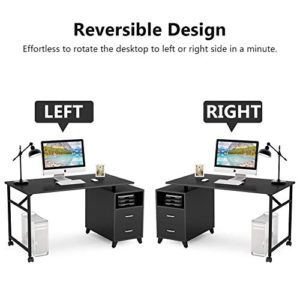 Tribesigns Reversible Computer Desk With Drawers 360 Free Rotating Home Office Desk 47 Inch Modern Study Writing Table Workstation With Storage Cabinet 0 2