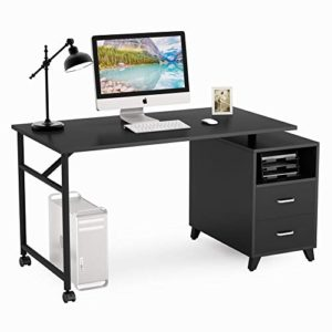 Tribesigns Reversible Computer Desk With Drawers 360 Free Rotating Home Office Desk 47 Inch Modern Study Writing Table Workstation With Storage Cabinet 0