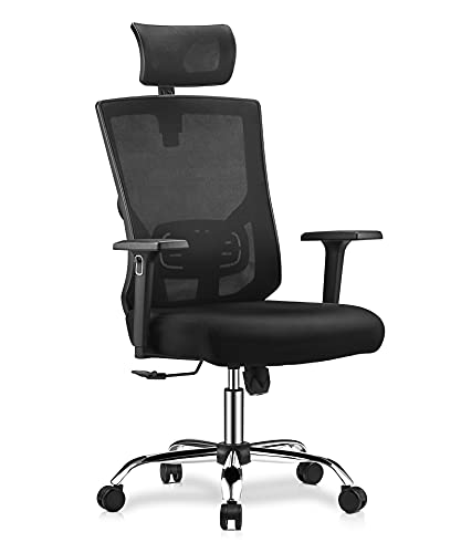 Vanspace High Back Mesh Chair Ergonomic Office Chair Executive Swivel Computer Chair Home Office Desk Chair With Lumbar Support Adjustable Headrest Armrest And Thick Seat Cushion 330Lbs 0
