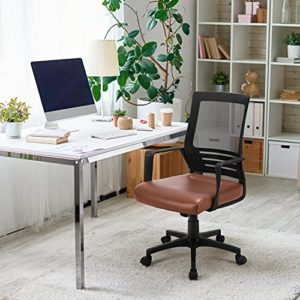 Yaheetech Ergonomic Home Office Chair Leather And Mesh Combine Desk Chair Rolling Swivel Adjustable Mesh Chair With Lumbar Support And Armrests For Office And Home Brown 0 0