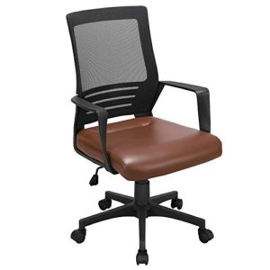 Yaheetech Ergonomic Home Office Chair Leather And Mesh Combine Desk Chair Rolling Swivel Adjustable Mesh Chair With Lumbar Support And Armrests For Office And Home Brown 0