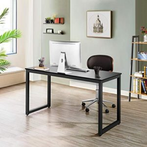 Yaheetech Home Office Modern Desk Chair Set 55 Large Simple Computer Desk With Mesh Mid Back Height Adjustable Office Chair Long Writingwork Desk Mesh Swivel Chair With Lumbar Support Black 0 0