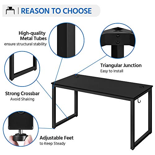 Yaheetech Home Office Modern Desk Chair Set 55 Large Simple Computer Desk With Mesh Mid Back Height Adjustable Office Chair Long Writingwork Desk Mesh Swivel Chair With Lumbar Support Black 0 1