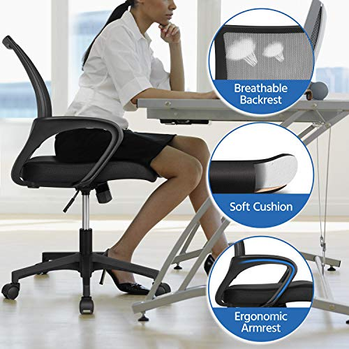 Yaheetech Home Office Modern Desk Chair Set 55 Large Simple Computer Desk With Mesh Mid Back Height Adjustable Office Chair Long Writingwork Desk Mesh Swivel Chair With Lumbar Support Black 0 3