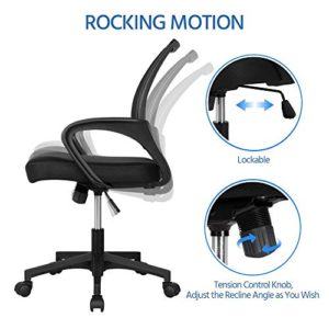 Yaheetech Home Office Modern Desk Chair Set 55 Large Simple Computer Desk With Mesh Mid Back Height Adjustable Office Chair Long Writingwork Desk Mesh Swivel Chair With Lumbar Support Black 0 4