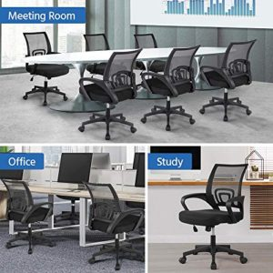 Yaheetech Office Chairs Ergonomic Computer Chair Mid Back Mesh Desk Chair Lumbar Support Modern Executive Adjustable Rolling Swivel Chair Black 0 0