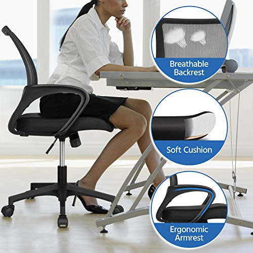 Yaheetech Office Chairs Ergonomic Computer Chair Mid Back Mesh Desk Chair Lumbar Support Modern Executive Adjustable Rolling Swivel Chair Black 0 1