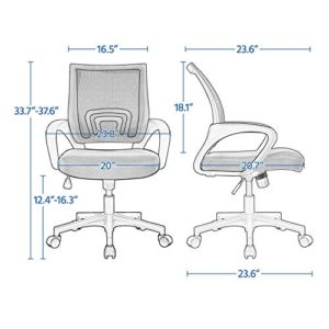 Yaheetech Office Chairs Ergonomic Computer Chair Mid Back Mesh Desk Chair Lumbar Support Modern Executive Adjustable Rolling Swivel Chair Black 0 2