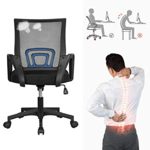 Yaheetech Office Chairs Ergonomic Computer Chair Mid Back Mesh Desk Chair Lumbar Support Modern Executive Adjustable Rolling Swivel Chair Black 0 3