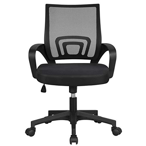 Yaheetech Office Chairs Ergonomic Computer Chair Mid Back Mesh Desk Chair Lumbar Support Modern Executive Adjustable Rolling Swivel Chair Black 0