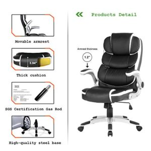 Yamasoro High Back Executive Office Chair Leather Adjustable Ergonomic Swivel Computer Desk Chair With Flip Up Armrest Back Support For Working Studying Black 0 0