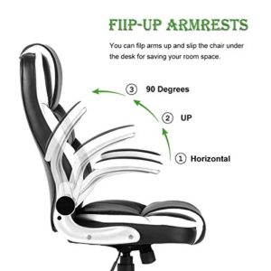 Yamasoro High Back Executive Office Chair Leather Adjustable Ergonomic Swivel Computer Desk Chair With Flip Up Armrest Back Support For Working Studying Black 0 1