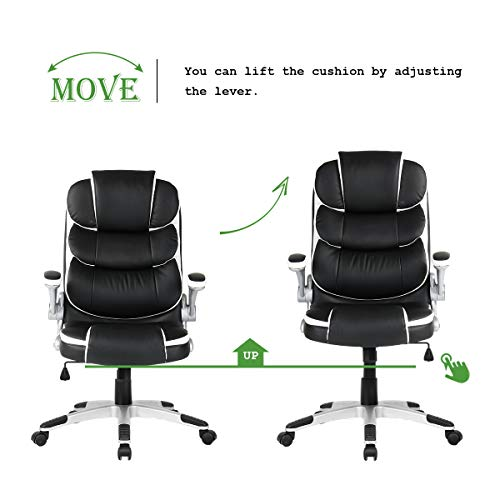 Yamasoro High Back Executive Office Chair Leather Adjustable Ergonomic Swivel Computer Desk Chair With Flip Up Armrest Back Support For Working Studying Black 0 4