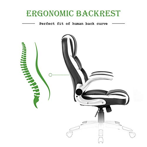 Yamasoro High Back Executive Office Chair Leather Adjustable Ergonomic Swivel Computer Desk Chair With Flip Up Armrest Back Support For Working Studying Black 0 5