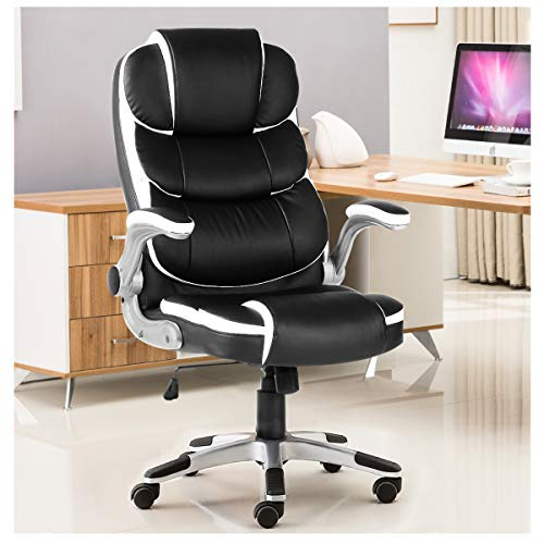 Yamasoro High Back Executive Office Chair Leather Adjustable Ergonomic Swivel Computer Desk Chair With Flip Up Armrest Back Support For Working Studying Black 0