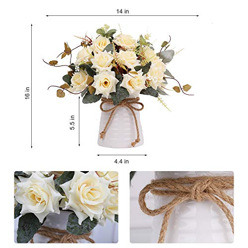 Yiliyajia Artificial Flowers In Vase Silk Rose Flower Arrangements Fake Faux Flowers Bouquets With Ceramics Vase Table Centerpieces For Easter Holiday Dinning Room Table Kitchen Decoration Champagne 0 0